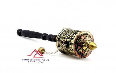 Tibetan Buddhist Om Mani Handmade Copper Prayer Wheel-12 inches hand prayer wheel,dharma wheel