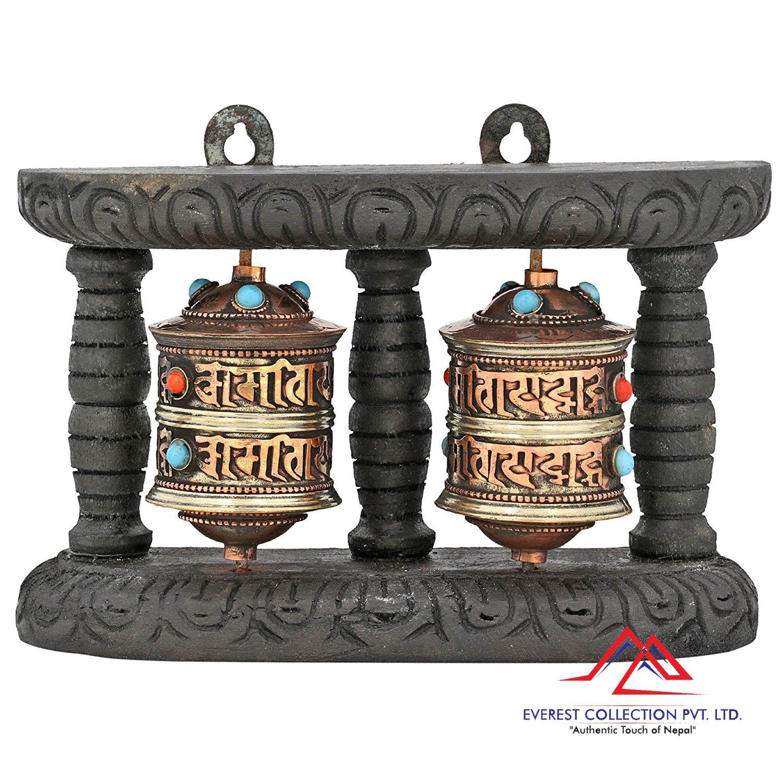 Buddhism Prayer Wheel with Tibetan Buddhist Mantra Home Décor 6.75 Inch