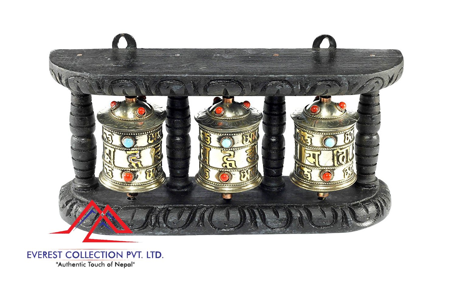 WALL HANGING TIBETAN PRAYER WHEEL - 3 IN 1 WOODEN HANDCARVED FROM NEPAL