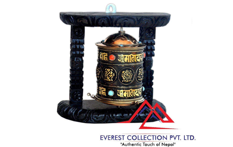 Tibetan Wood Copper Om Mani Padme Hum Wall Hanging Prayer Wheel-8 Auspicious symbols