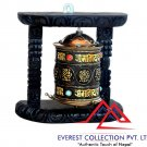 Tibetan Wood Copper Om Mani Padme Hum Wall Hanging Prayer Wheel-8 Auspicious symbols