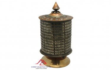 9 inches tall table top prayer wheel-dharma wheel,mantra om mane padme hum-handmade in Nepal