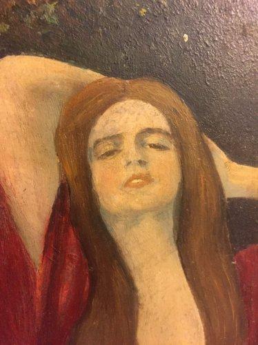 Art-Nouveau Antique Painting Of A Lady (After E. Munch)