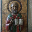 Antique Russian 1860-1880 . Carved Icon of St. Nicholas. Museum piece. Very Rare