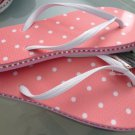 Size 9/10 Pink Polka Dot Rubber Flip Flops Sandals by Always of Brazil, Swarovski Crystal Accents