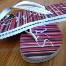 Size 9/10 Red Stripe Rubber Flip Flops Sandals by Always of Brazil, Swarovski Crystal Accents