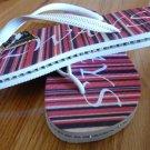 Size 11 Red Stripe Rubber Flip Flops Sandals by Always of Brazil, Swarovski Crystal Accents