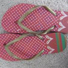 Size 7/8 Colorful Flip Flop Sandals with Heart and Dot Design - Red & Gold