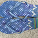 Size 9/10 Colorful Flip Flop Sandals with Heart and Dot Design - Blue