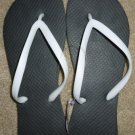 Size 10 Cariris All Rubber Flip Flops Sandals from Brazil - Black with White Straps