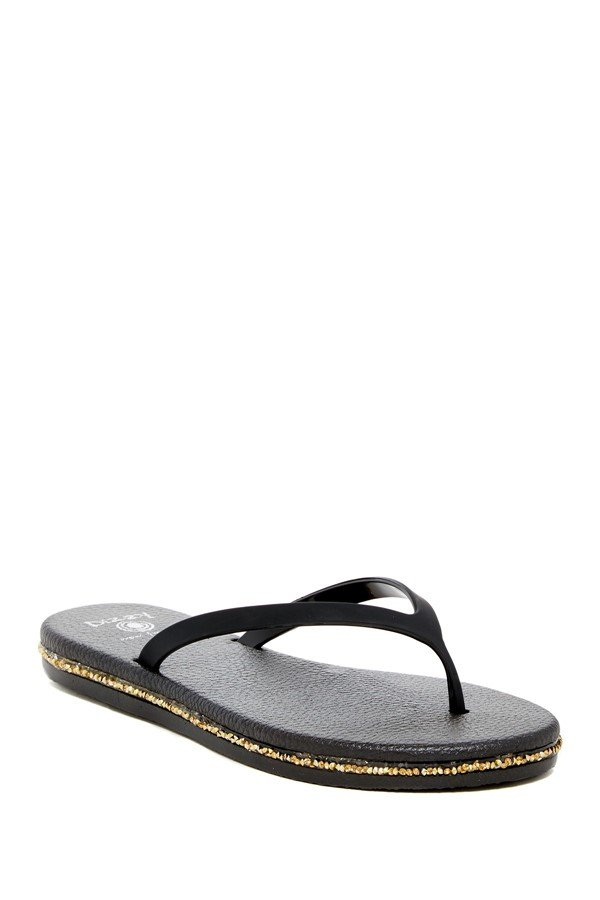 Size 10 DIZZY Black Glaze with Gold Trim Comfort Flip Flops Sandal MSRP $40