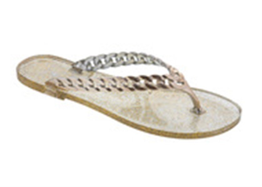 Size 10 DIZZY Gold Rocket with Glitter Footbed Jelly Style Flip Flops Sandal MSRP $26