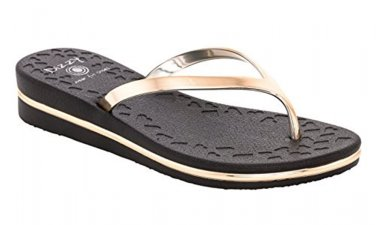 Size 10 DIZZY Black Prints with Gold Straps & Trim Comfort Wedge Flip Flops Sandal MSRP $40