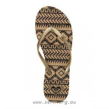 Size 9 Roxy Bermuda Gold/Black Flip Flops Sandals for Women and Teens
