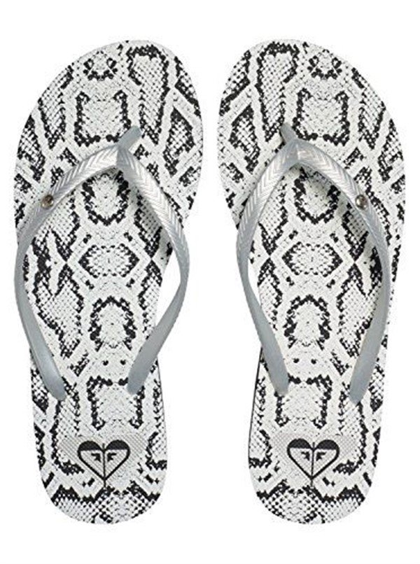 Size 7 Roxy Bermuda Silver Metallic with Black Flip Flops Sandals for Women and Teens