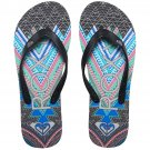 Size 10 Roxy Tahiti V Black Tribal Print Flip Flops Sandals for Women and Teens