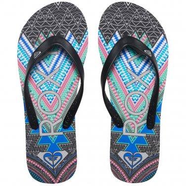 Size 10 Roxy Tahiti V Black Tribal Print Flip Flops Sandals for Women and Teens
