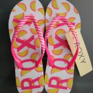 Size 10 Roxy Simba Love V Pink Lemonade Print Flip Flops Sandals for Women and Teens