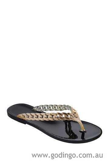 Size 9 DIZZY Black Rocket with Gold Straps Jelly Style Flip Flops Sandal MSRP $26