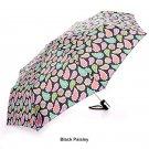 Totes Auto Open Compact Folding Umbrella - Black Paisley
