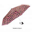 Totes Auto Open Compact Folding Umbrella - Strawberry Daiquairi