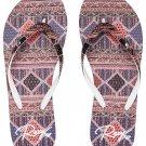 Size 8 Roxy Portofino II Wine Print Flip Flops Sandals for women and teens