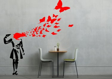 Banksy Girl Shooting Herself Into Butterflies X-Large
