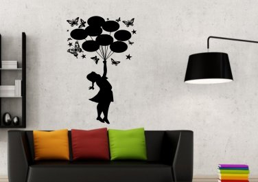 Banksy Girl With Balloons and Butterflies Small 9x22(inch)