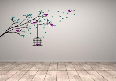 Tree Branch with Birds and Bird Cage Medium