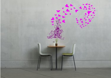 Flowers to butterfly heart Large 35x30(inch)