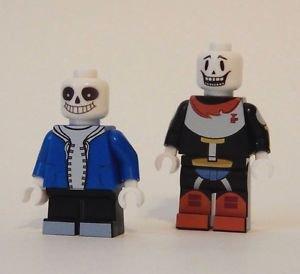x2 **NEW** LEGO Custom Printed UNDERTALE PAPYRUS & SANS Minifigure Lot