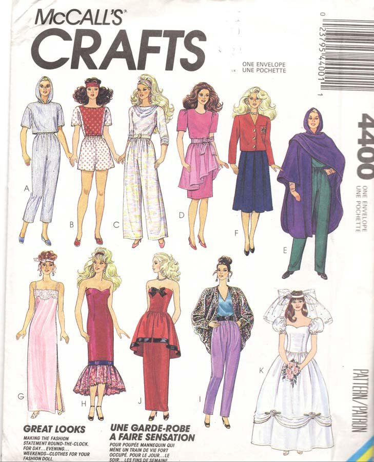 Mccall S Sewing Pattern 4400 Barbie Doll Outfits Uncut And