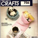 McCall's Sewing Pattern 756 Doll Totes Carrier Sleeping Bag Uncut and Unused