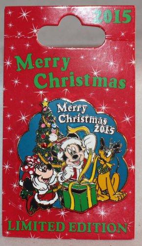 Disney Merry Christmas 2015 Pin Mickey Minnie Pluto Limited Edition 2000