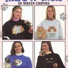 Leisure Arts Meow Mix in Waste Canvas 10 Cat Designs to Cross Stitch