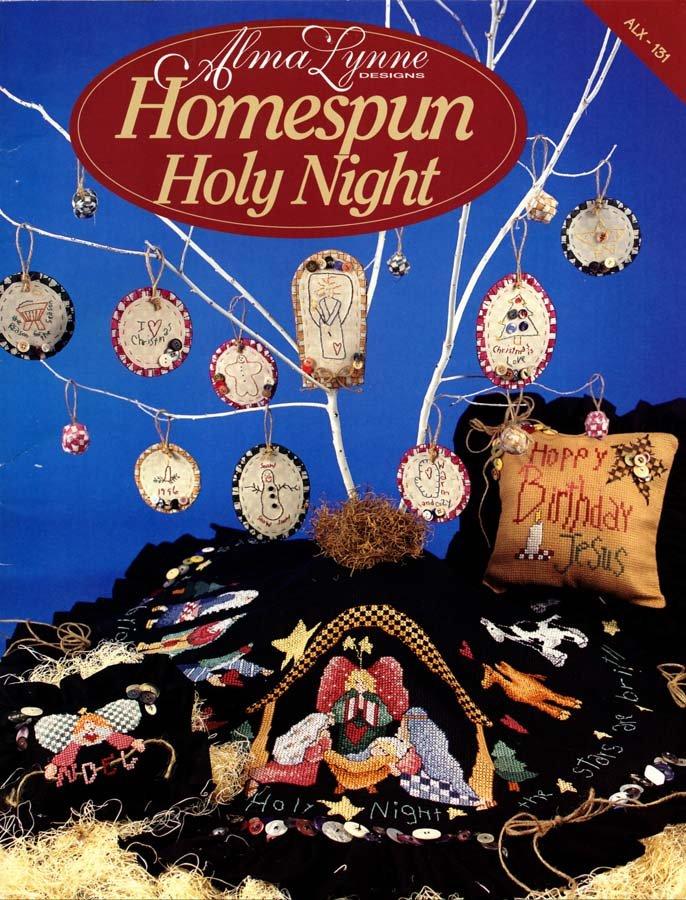 Alma Lynne Designs Homespun Holy Night - 5 Cross Stitch Designs, 9 Embroidered Ornaments