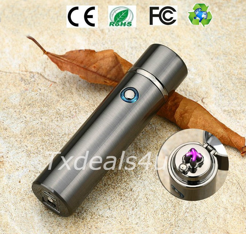 Gunmetal Dual Arc Electric USB Lighter Rechargeable Plasma Windproof Flameless Cigar Pipe