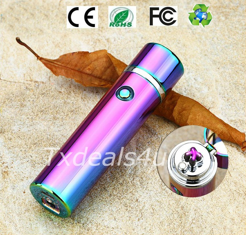 Iridescent Dual Arc Electric USB Lighter Rechargeable Plasma Windproof Flameless Cigar Pipe