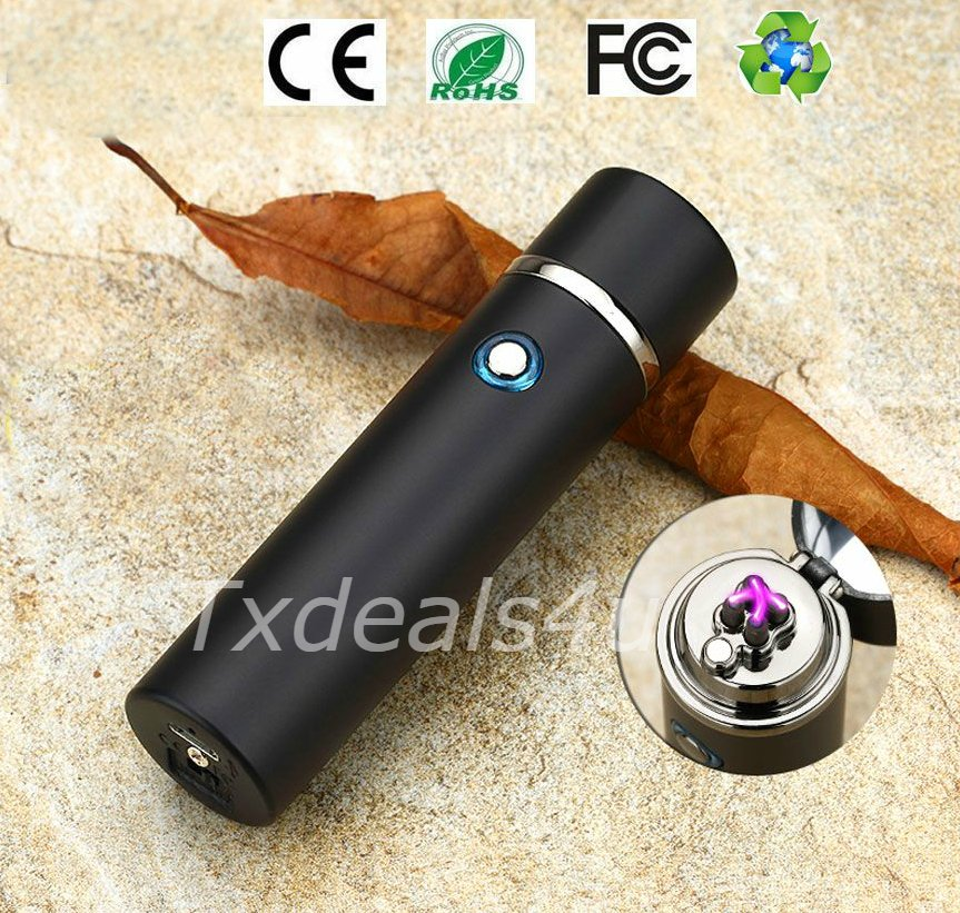 Matte Black Dual Arc Electric USB Lighter Rechargeable Plasma Windproof Flameless Cigar Pipe
