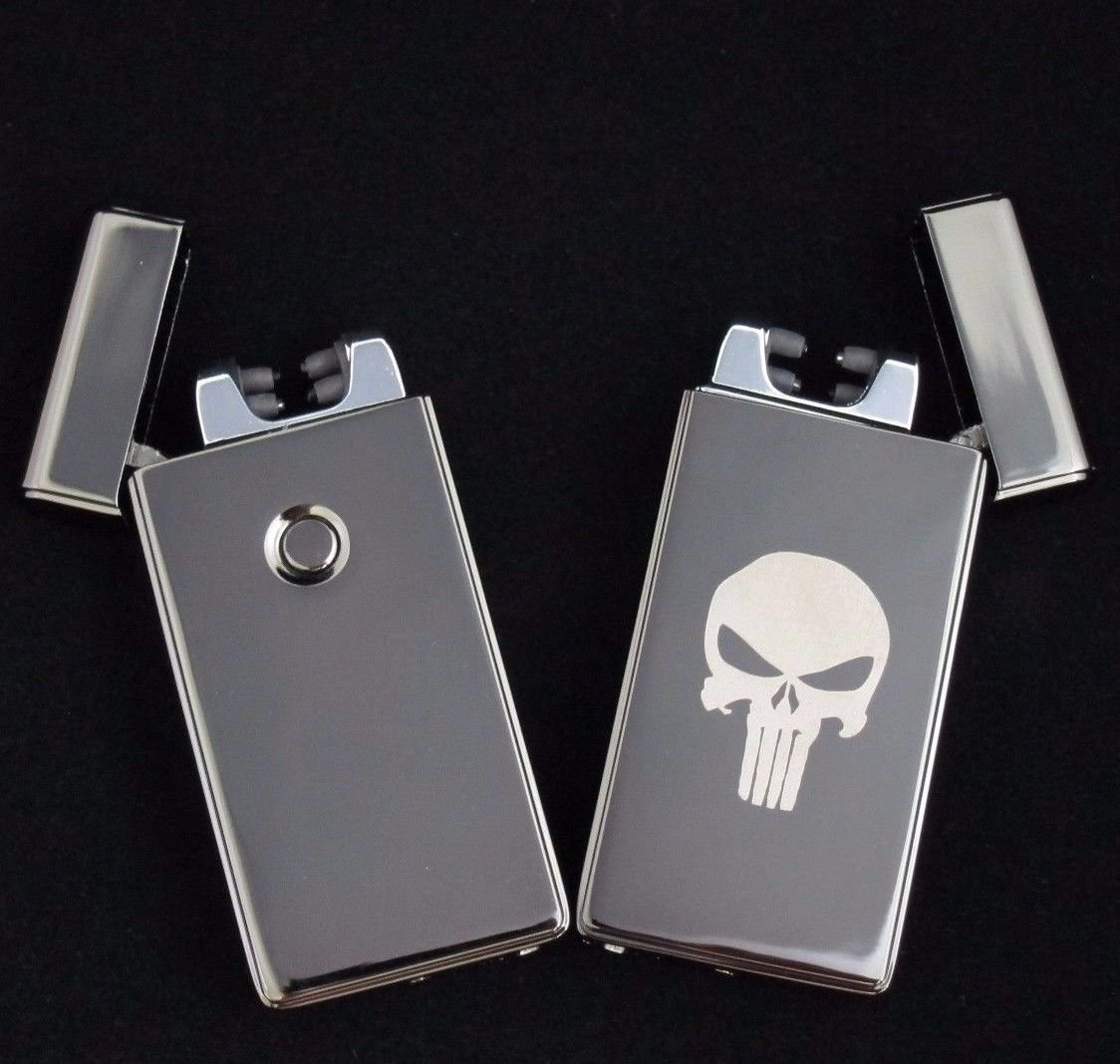 Punisher Dual Arc Electric USB Lighter Rechargeable Plasma Windproof Flameless Cigarette