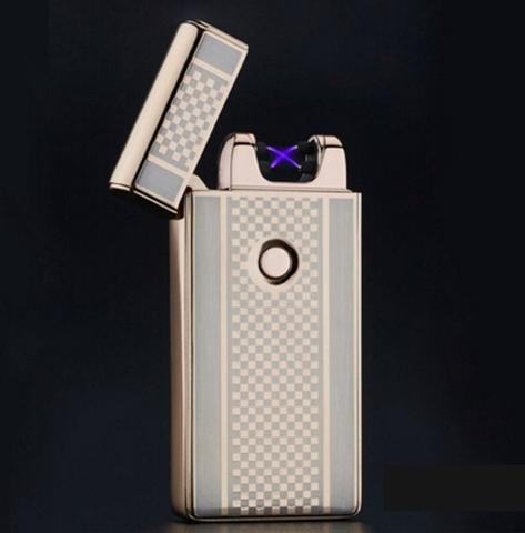 Gold Checkered Dual Arc Electric USB Lighter Rechargeable Plasma Windproof Flameless Cigarette