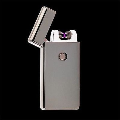 Gunmetal Dual Arc Electric USB Lighter Rechargeable Plasma Windproof Flameless Cigarette