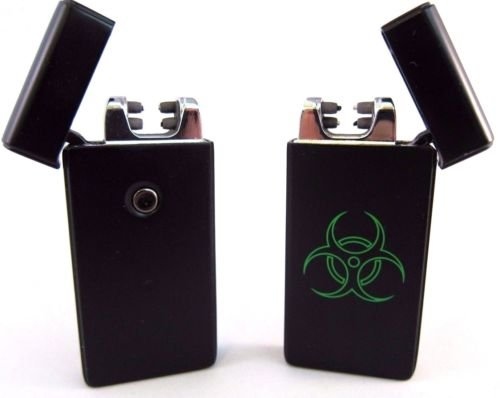 Biohazard Dual Arc USB Lighter Rechargeable Plasma Windproof Flameless Cigarette