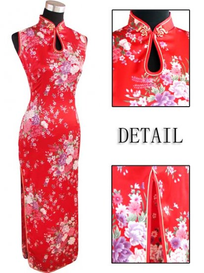 Long Chinese Dress: Red and White