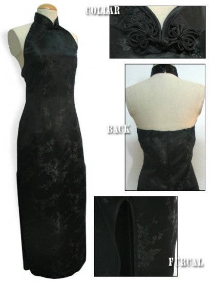 Backless Chinese Dress: Black