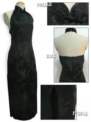 Backless Chinese Dress: Black