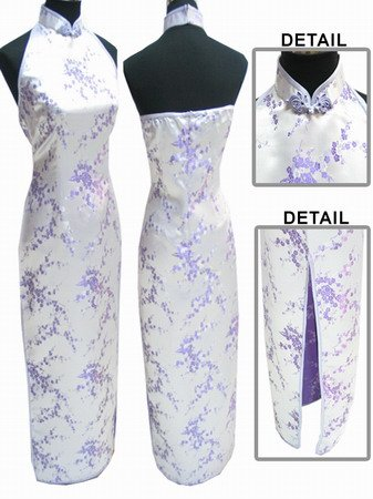 Chinese Backless Dress: White and Lilac