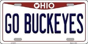 "Go Buckeyes Vanity License Plate Tag 6""x 12"" NCAA Columbus Metal Auto Ohio State"