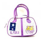 NCAA LSU Tigers Bowler Purse Bag  Handbag  Team Logo Womens -Logo NWT White