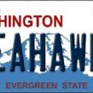 "Seahawks Vanity License Plate Tag Seattle  6""x 12"" Metal Nfl Auto Wilson 12th"